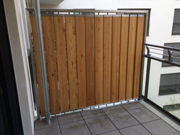 Windschutz / Sichtschutz mit drehbaren Holzlamellen - Edelstahl